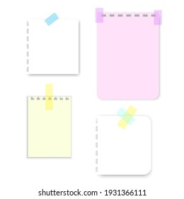 Colorful notebook sheets tape. Vintage illustration. White background. Stock image. EPS 10.