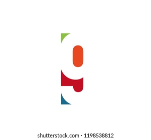 Colorful number 9. Colored vector latin alphabet. Rainbow color font element. Color paper applique ABC, negative space monogram and poster template. Typography design.