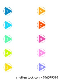Colorful number bullet point markers 1 to 10, vector illustration eps10