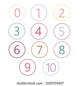 Colorful number icons.Vector set of 0-10 digit.
