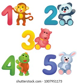 Colorful numbers from 1 to 5 with plush monkey, panda, hippo, turtle and bunny