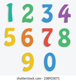 Colorful numbers isolated on white background