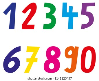 Colorful numbers from one to nine and zero.