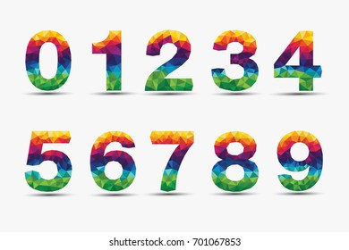 Colorful numbers set in polygon design on white Background.Geometric alphabet collection.vector illustration