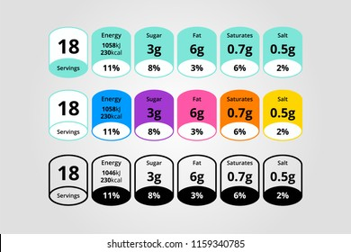 Colorful nutrition facts information label for cereal box package. Daily value ingredient amounts of calories, cholesterol, fats in grams and percent. Diet guideline. Vector illustration.