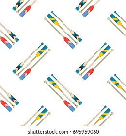 Colorful oars in red, blue, yellow slant on white background. Seamless pattern vector illustration.