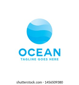 Colorful Ocean Logo Vector, Sea Waves Symbol, Sun Waves Logotype, Sun and Sea icon.