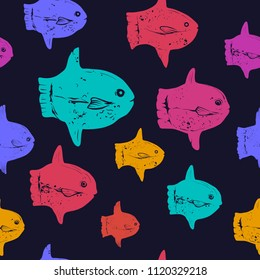 Colorful Ocean Sunfish Seamless Vector Pattern on a Black Background