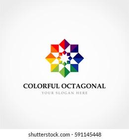 Colorful Octagonal Star Logo