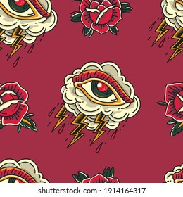 Colorful Old School Crying Eye cloud Tattoo with flower ornament seamless pattern