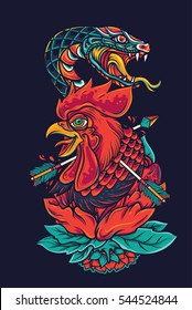 Colorful Old School Rooster Head and Snake Tattoo Illustration