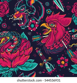Colorful Old School Tattoo element seamless Pattern