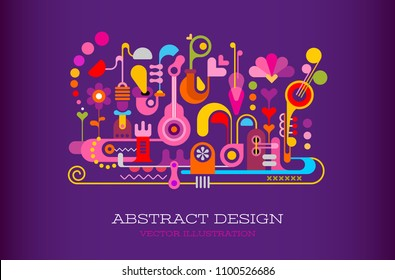 Colorful on a dark violet background Abstract Design vector artwork with text.