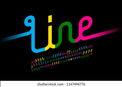 Colorful one line font, one single continuous line alphabet, vector illustration