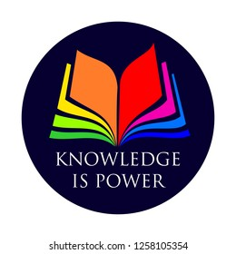 colorful opened book pages in logo format for bookstores, advertising, libraries or brochure cover - knowledge is power subtitles, culture