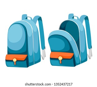 Colorful opened and closed school bags. Empty rucksack. Backpack with zippers. Cartoon design. Flat vector illustration isolated on white background.
