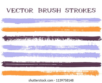 Colorful orange blue ink brush strokes isolated design elements. Set of paint lines. Dirty Ink brushes stripes isolated on white, vector colors guide book samples.