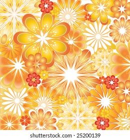 Colorful orange and red flowery background vector illustration