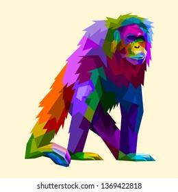 colorful orangutan in geometry pop art style