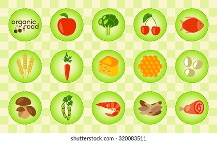 Colorful organic food set with corn, dairy products, meat, vegetables, seafood, eggs, berry and honey. Organic food logo. Checked background. Vector illustration.
