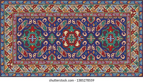 Colorful oriental Caucasian mosaic rug with a traditional floral motifs and geometric ornaments. Patterned carpet with a border frame. Cross stitch template. Vector 10 EPS illustration.