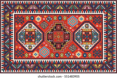 Colorful Oriental Mosaic Kazak Rug With Traditional Folk Geometric  Ornament. Carpet Border Frame Pattern.
