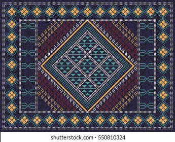Colorful oriental mosaic kilim rug with traditional folk geometric ornament. Carpet border frame pattern. 277 x 209 cells. Vector 10 EPS illustration.