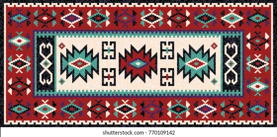 Colorful oriental mosaic kilim rug with traditional folk geometric ornament. Patterned carpet with a border frame. Vector 10 EPS illustration.