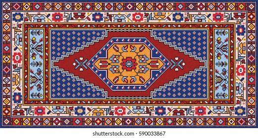 Colorful oriental mosaic Mazlaghan rug with traditional folk geometric pattern and floral motifs. Carpet border frame pattern. Vector 10 EPS illustration.