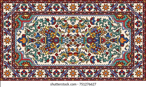 Colorful oriental mosaic rug with classical traditional floral and geometric ornaments. Carpet border frame pattern. Vector 10 EPS illustration.