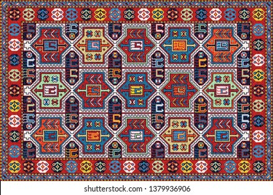 Colorful oriental mosaic rug with a traditional floral and animal motifs and geometric ornaments. Patterned carpet with a border frame. Cross stitch template. Vector 10 EPS illustration.