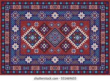 Colorful oriental mosaic rug with traditional folk geometric ornament. Carpet border frame pattern. Vector 10 EPS illustration.