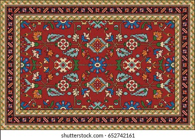 Colorful oriental mosaic rug with traditional folk geometric ornament and floral motifs. Carpet border frame pattern. Vector 10 EPS illustration.