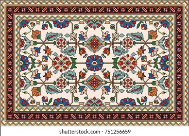 Colorful oriental mosaic rug with traditional geometric ornament and floral motifs. Carpet border frame pattern. Vector 10 EPS illustration.