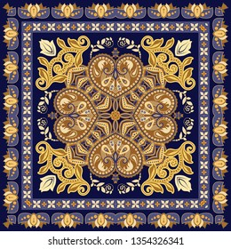 Colorful oriental mosaic square rug with a traditional geometric ornaments and floral motifs. Patterned carpet with a border frame. Cross stitch template for pillows