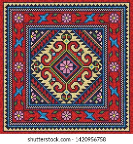 Colorful oriental mosaic square rug with a traditional floral motifs and geometric ornaments. Patterned carpet with a border frame. Cross stitch template for pillows. Vector 10 EPS illustration.