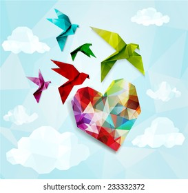 Colorful origami birds with heart background. Vector illustration, EPS10