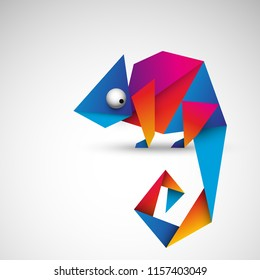 colorful origami chameleon vector