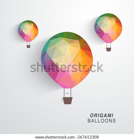 Colorful Origami Hot Air Balloon Flying Stock Vector Royalty Free