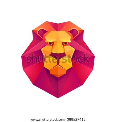 Colorful Origami Lion Low Poly Character Stock Vector Royalty Free