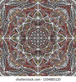 Colorful ornamental floral ethnic mandala, vector illustration