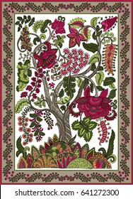 Colorful ornamental floral paisley shawl, bandanna, pillow, scarf. Square pattern. Detailed Fantasy tree floral indian design. Hand drawn ornament.