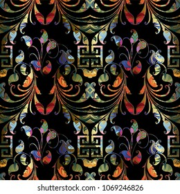 Colorful ornamental Paisley seamless pattern. Vector floral background with bright patterned paisley flowers, leaves, swirls, lines and greek key meanders ornament. Modern beautiful design for fabric