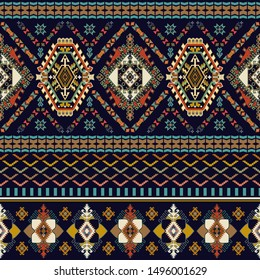 Colorful ornamental seamless pattern.  Geometric ethnic pattern. Arabian ornamental backdrop with decorative elements. Symmetric geometric ornamental motif. Design for textile, wallpaper, cover, rug