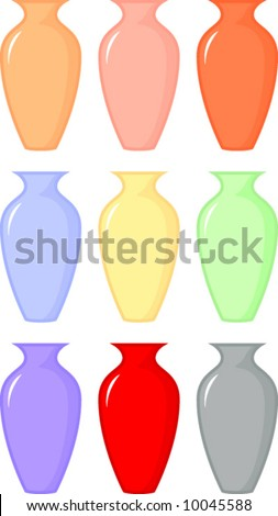 Colorful Ornamental Vases Stock Vector Royalty Free 10045588