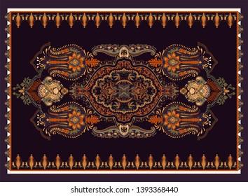 Colorful ornamental vector design for rug, carpet, tapis, towel. Persian rug, textile. Geometric floral backdrop. Arabian ornament with decorative elements