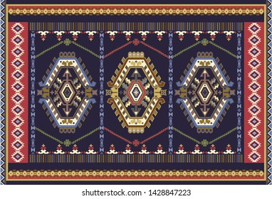 Colorful ornamental vector design for rug, carpet, tapis. Persian, Turkey rug, textile. Geometric floral backdrop. Abstract ornament with decorative elements. Abstract geometric carpet template