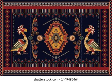 Colorful ornamental vector design for rug, carpet, tapis, fabric. Mexican, indians symmetrical ornament. Geometric backdrop with mythical birds. Rectangular ethnic vector template