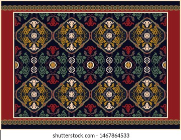 Colorful ornamental vector design for rug, carpet, tapis, yoga mat. Persian rug, towel, textile. Geometric floral backdrop. Arabian ornament with decorative elements. Vector carpet template