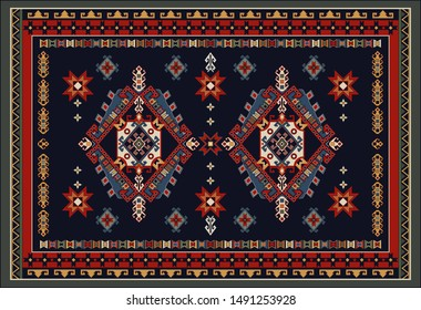 Colorful ornamental vector design for rug, tapis, yoga mat.  Geometric ethnic clipart. Arabian ornamental carpet with decorative elements.